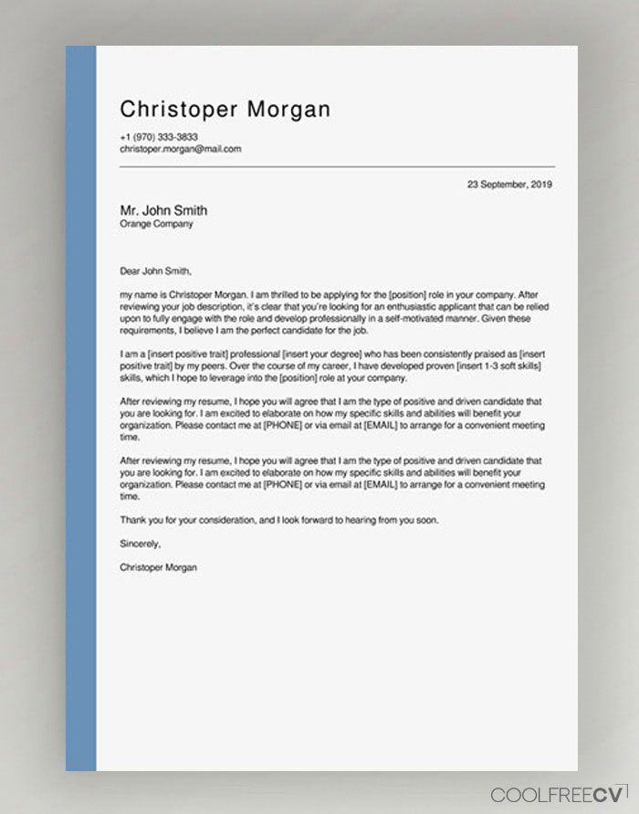 Free Simple Cover Letter Examples from www.coolfreecv.com