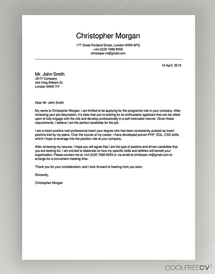 Professional Cover Letter Formats from www.coolfreecv.com
