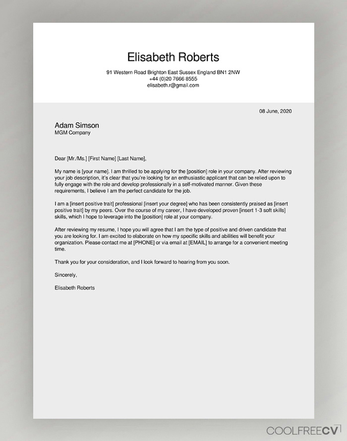 Cover Letter Samples For Job from www.coolfreecv.com