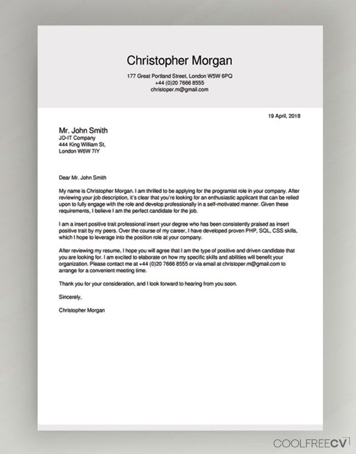 cover letter examples 2018