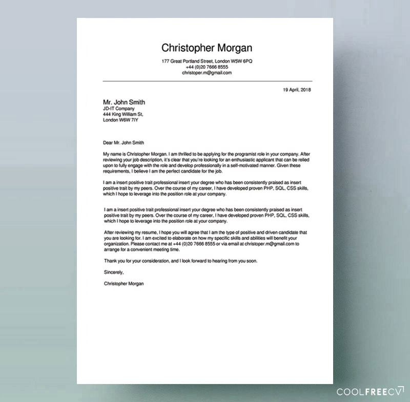 Example Of A Good Cover Letter from www.coolfreecv.com