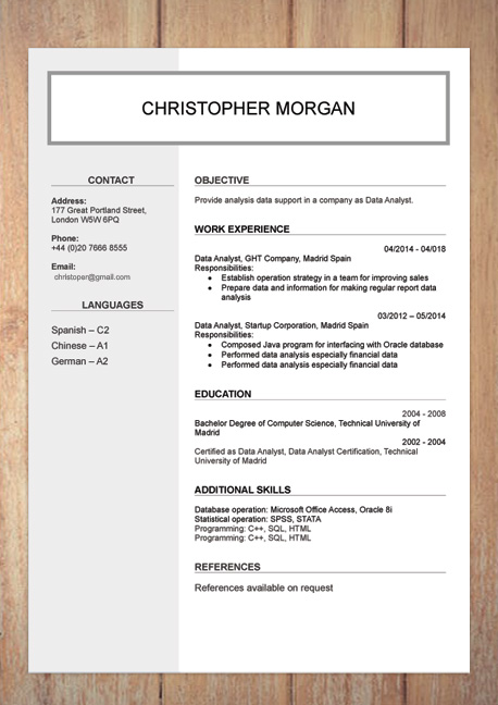 CV   Resume Templates Examples