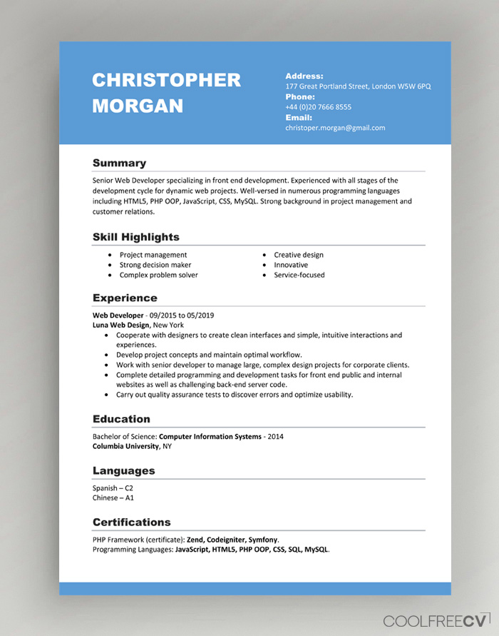 Job Application Resume Format from www.coolfreecv.com