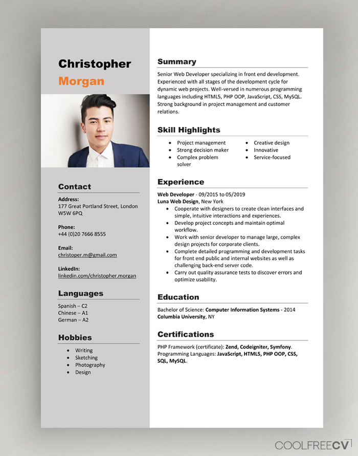 Does Word Have A Resume Template from www.coolfreecv.com