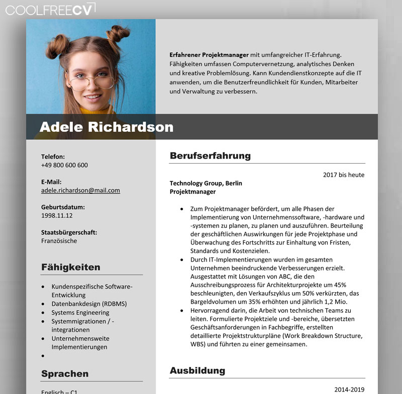 German Cv Template Format Lebenslauf
