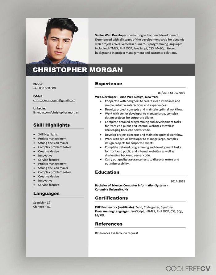 latest cv format free download pdf
