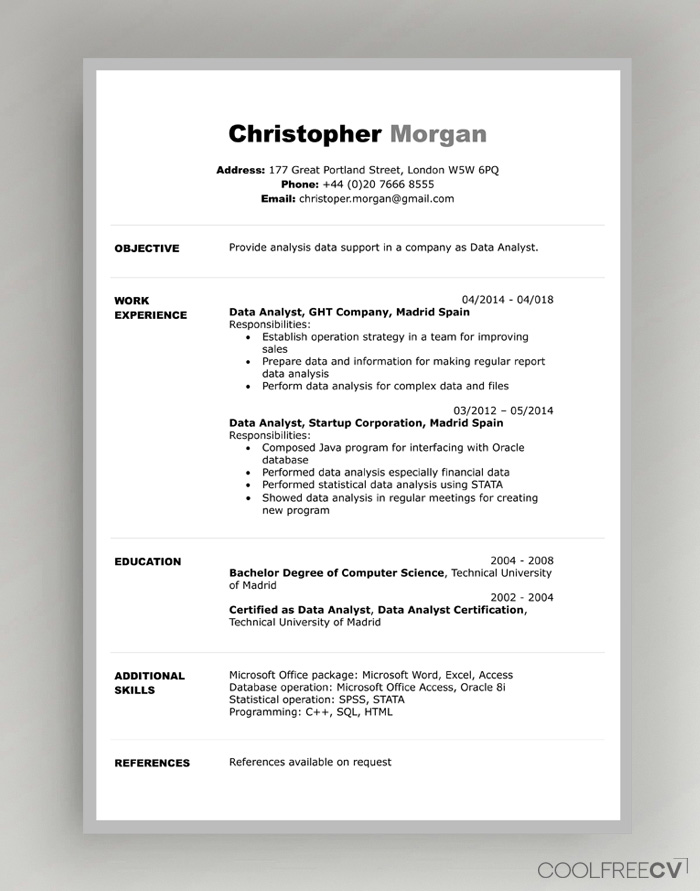 Resume Template For Freshers from www.coolfreecv.com