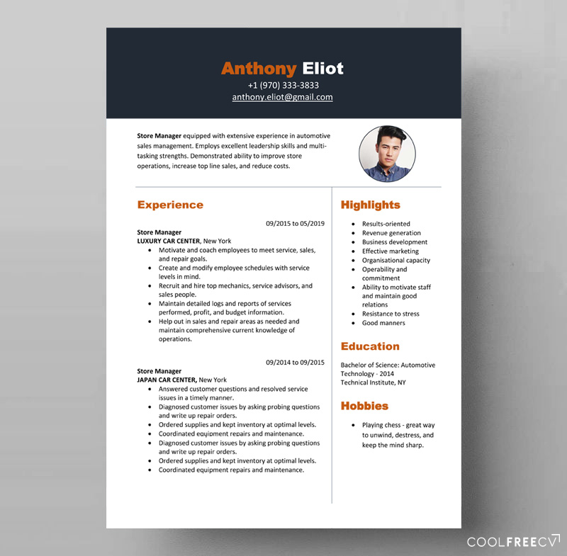 ready to fill the resume pattern store manager
