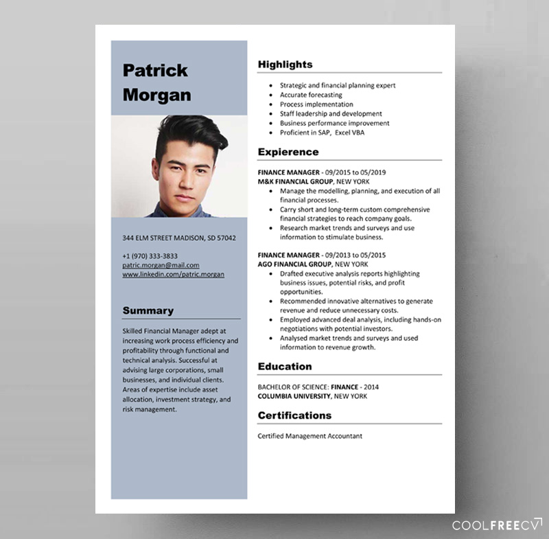 free resume template finance manager docx