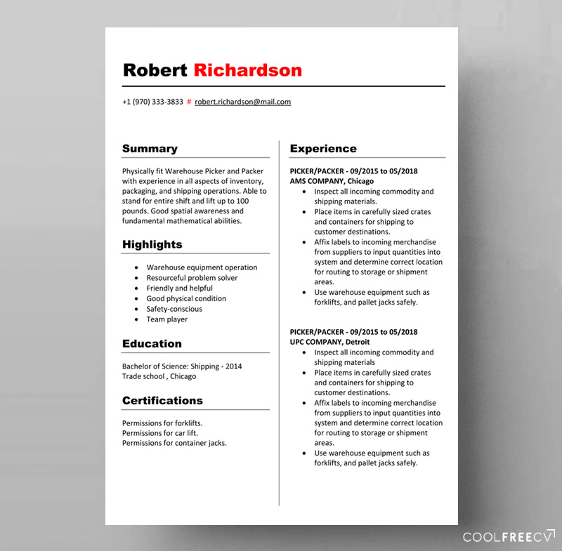 free resume template warehouse employee doc