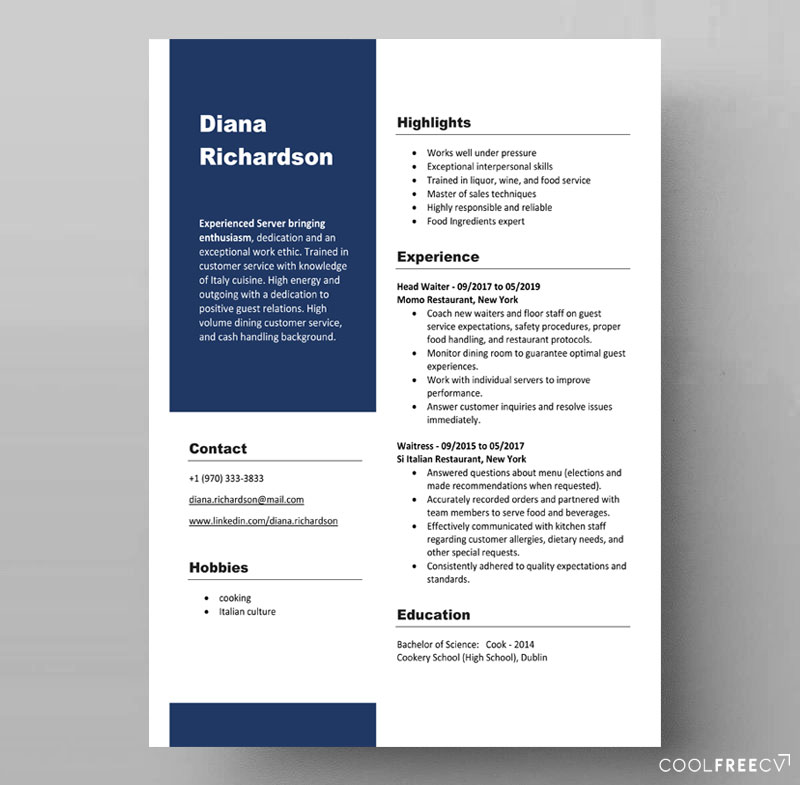 free resume template waiter server food docx