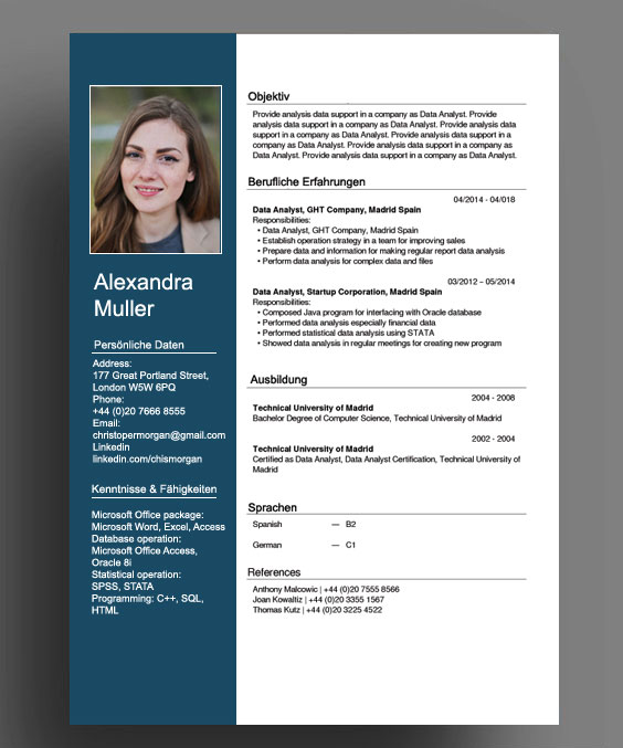 cv template germany cvtemplate germany template t